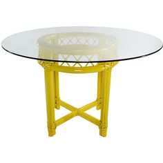 SWI Vintage Pre-Owned Ficks Reed Yellow Trellis Dining Table ($1,295) ❤ liked on Polyvore featuring home, furniture, tables, dining tables, yellow, glass top kitchen table, glass top table, lacquer dining table, yellow furniture and lacquer table