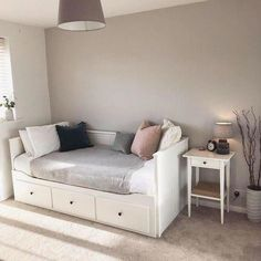 HEMNES day bed with 3 drawers / 2 mattresses - white, Malfors medium firm - IKEA HEMNES bedroom series - IKEAHEMNES daybed frame with 3 drawers, whiteOne month at home // My favorite corner - Ikea Daybed, Daybed Room, Nursery Daybed, Room Ideas Bedroom, Small Room Bedroom, Diy Spare Room Ideas, Sofa For Bedroom, Small Guest Bedrooms, Daybed Bedroom Ideas