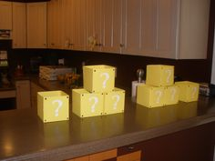 Goody boxes for Ryan's Super Mario birthday party