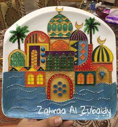 رسم على الصحون  شناشيل بغدادية Art Painting Gallery, Mirror Painting, Silk Painting, Moroccan Art, Bagdad, Homemade Art, Ramadan Decorations, Arabic Art, Egyptian Art