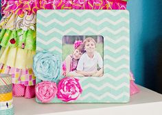 Do you need a quick and easy gift idea, or maybe just a little something to dress up a bare wall or empty space on your desk? How about this sweet little wood frame, customized with printed tissue paper? Who wouldn't love to get a sweet little gift like this? (Just don't tell them it …