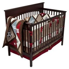 This is the bedding I want for our little man! I just love the sports theme and the blue/red/brown colors! I want to paint the walls the color of the blue.
