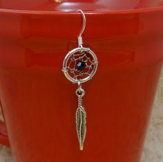 Dream Catcher Silver Dangle Earring by SparrozNest on Etsy, $16.00