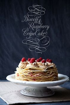 Biscoff and raspberry crepe cake. So yummy!