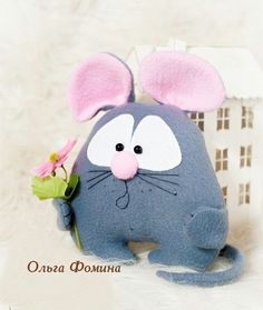 Sewing Toys, Sewing Crafts, Sewing Projects, Ugly Dolls, Cute Dolls, Mouse Crafts, Felt Crafts, Softies, Felt Mouse