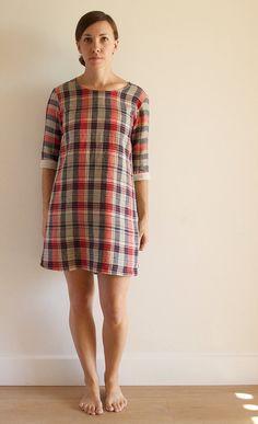 Plaid linen lightweight womens handmade shift day dress