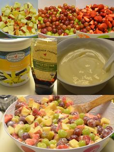 actually do this same sorta salad. Fresh fruit, whatever you have on hand, diced up. but I use non fat plain yogurt without the sugar and I mix it with Lemon Curd from Trader Joe's. It's a really quick side that my family loves! Healthy Fruits, Fruits And Veggies, Healthy Snacks, Healthy Eating, Healthy Recipes, Yummy Recipes, Clean Eating, Fruit Recipes, Salad Recipes