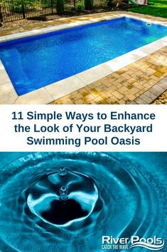 Looking to improve the look of your inground pool? Here are 11 simple ideas to try! Fiberglass Swimming Pools, Swimming Pools Backyard, Inground Pool Designs, Swimming Pool Accessories, White Gravel, Pool Finishes, Beautiful Pools, Landscape Lighting, Water Features