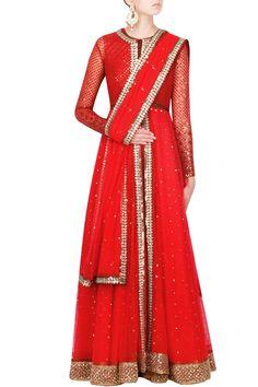 Red color anarkali suit