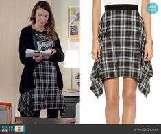 Liza's plaid skirt on Younger.  Outfit Details: http://wornontv.net/49222/ #Younger