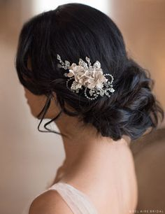 6680 Rhinestone clip with champagne flowers ***Available for order at A Curvy Bride***