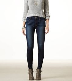 These are the best fitting, most flattering jeans for such a great price! AE Hi-Rise Jegging
