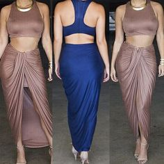 BOBBI- our city meets chic maxi skirt set with racer back crop top and wrap skirt. On sale now at girlnamedguy.com. Use Promo code: FLYGUY for instant savings!