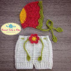 Conjunto bonnet vontage + short flor. Uma verdadeira graça!!!