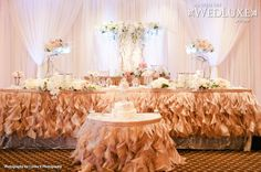 WedLuxe: head table with peach ruffled linens #wedding #decor