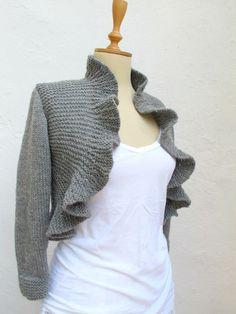 Knitted Ruffle Bolero/Shrug on Etsy, by crochetbutterfly