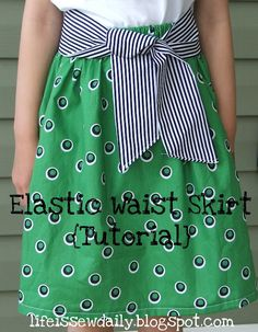 Elastic Waist Skirt {Tutorial} SEW EASY!! again need to get a sewing machine!!