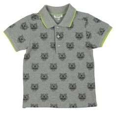 fb916740bc97 Kenzo Kids Boys Grey Polo Shirt with Tiger Print and Lime Green Piping Boys  Short Sleeve, Boys, Printed ,   Chocolate - Luxury childrenswear for all ...
