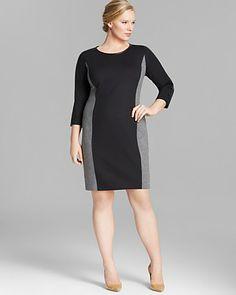 3935d0902a0e4 DKNYC Plus Color Block Dress with Faux Leather Trim