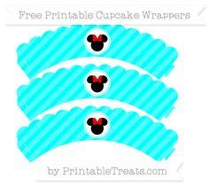 Free Aqua Blue Diagonal Striped  Minnie Mouse Scalloped Cupcake Wrappers