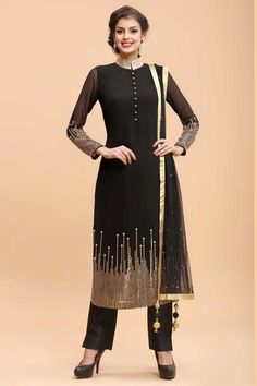 Buy Black Georgette Straight Suit Pant - Straight Suit for Women from Andaaz Fashion at Best Prices. Style ID: 1684 Diwali Outfits, Eid Outfits, Diwali Dresses, Eid Dresses, Summer Dresses, New Designer Dresses, Ethnic Wear Designer, Salwar Kameez, Kurti