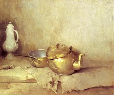 Emil Carlsen Copper Kettle and Porcelain Coffee Pot, c.1910