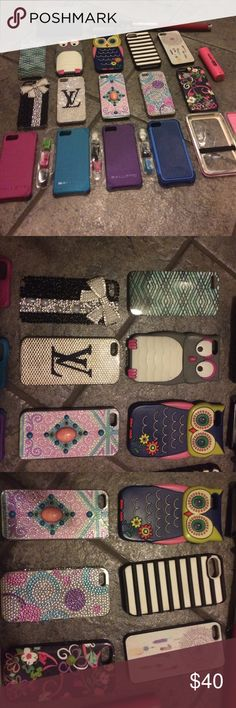 iPhone 5 bundle iPhone 5 bundle comes with 15 cases, selfie stick, clip on lenses(3), small speaker, one case is a breast cancer awareness wallet that your phone goes in. The Vera Bradley case is a secret card holder and is Authentic. The LV case is encrusted crystal that are inset, high quality and Authentic. There is 4 Ballistic cases and 3 are slim version with interchangeable color edges. There is 2 Rubber owl cases and 3 other decor cases encrusted in rhinestones. If you have any…