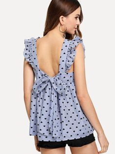 Shop Ruffle Detail Knot Back Top online. SheIn offers Ruffle Detail Knot Back Top & more to fit your fashionable needs. Shirt Skirt, Blouse Dress, Women Bow Tie, Blue Fashion, Blouses For Women, Women's Blouses, Blouse Designs, Outfits, Clothes