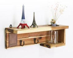 Wood Shelf, Wall shelf, Shelf Mu, Wood&Leather Shelf, Wall Art, Hanging Shelf, Shelves, Korea, gift, wedding