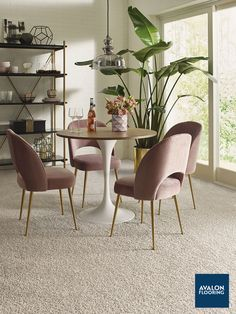 Our On Trend Carpet - Rich Opulence in Mist provides the ultimate softness under your feet. Featuring chunky yarns and extra plush textures - Starting at $5.29 SF #carpet #diningroom #carpetflooring