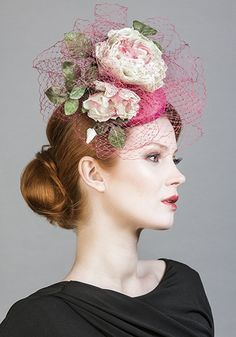 Rachel Trevor Morgan Millinery SS 2016 | R1672 - Pink silk taffeta pillbox with toned handmade flowers and veil