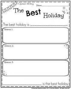 First Grade Opinion Writing Prompt - The Best Holiday