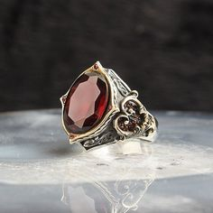 Details about  /Garnet Silver Ring 925 Solid Sterling Silver Handmade Jewelry Size 3-14 US