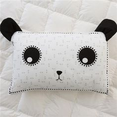 Ideas for Decorating a Bedroom in a Panda Theme Bedroom Themes, Kids Bedroom, Panda Pillow, Kmart Decor, Latest Cartoons, Decorative Pebbles, Blue Ceilings, Old Room, Black And White Background