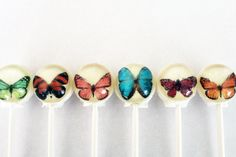 Butterfly ball style edible images hard candy lollipop - 6 pc. - MADE TO ORDER
