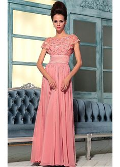 A-line Bateau Neckline Natural Waist Cap Sleeves Full Length Beaded Evening Gown With Flowers