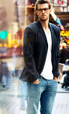 Fall / Winter - Spring / Summer - street style - casual style - black blazer + white v neck t shirt + black belt + jeans