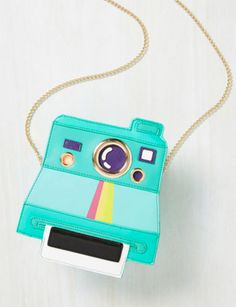 Vintage Bags Polaroid-style Lead a Charmed Ex-Insta Bag at ModCloth - We love this Lead a Charmed Ex-Insta Bag at ModCloth. Perhaps because we love Polaroid cameras! That's the obvious inspiration for this colourful bag. Cute Handbags, Handbags On Sale, Purses And Handbags, Luxury Handbags, Cheap Handbags, Popular Handbags, Luxury Bags, Luxury Purses, Gucci Handbags