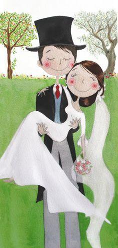 Ilustradero: Wedding card,  custom made & personalized. For more details: http://rocio.ilustradero.com