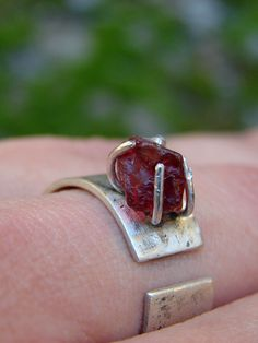 Rough Garnet Prong Set Sand Textured Silver Band by SaraBJewelry, $120.00