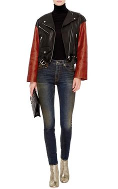 Audric Black and Burnt Orange Lambs Leather Biker Jacket by Isabel Marant Now Available on Moda Operandi