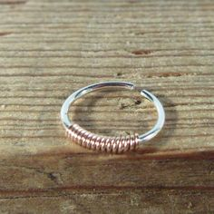 Hoop Earring Silver with Pink Gold Wrapped Single Endless