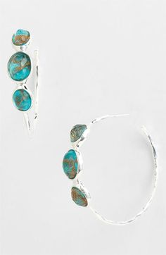 Ippolita 'Rock Candy earrings - Number 3' 3 Stone Hoop Earrings, smokey quartz.