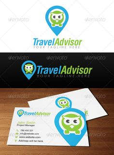 Travel Advisor Logo by penxelstudio Simple and cute owl sitting in point map icon very suitable as logo for company and business related to travel agency, tourist cen