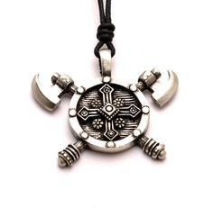 Viking-1 Silver Pewter Charm Necklace Pendant Jewelry. Pendant Size: 4.27 x4.75 x 0.66 cm. Necklace Length: Adjustable. Material: pewter. Weight: 17.86 gram. Style: Viking.
