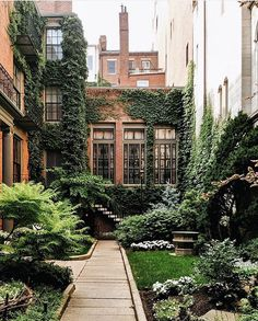 Brownstone houses in Boston ? - My Home Decor Winter House, Winter Garden, Loft Railing, Front Yard Fence, Living Room Trends, Modern Landscaping, Diy Planters, Green Life, Home Photo