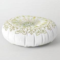 Vegetal Mandala green Floor Pillow by laurafrere Floor Pillows, Bean Bag Chair, Decorative Bowls, Flooring, Green, Mandalas, Beanbag Chair, Wood Flooring, Floor Cushions