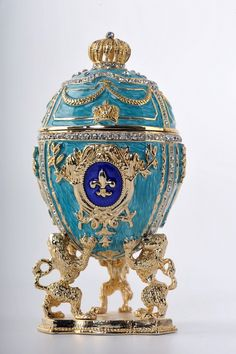 Egg Trinket Box by Keren Kopal Faberge Egg Swarovski Crystal Jewelry box - Each item is made of pewter