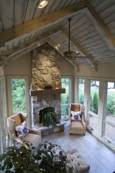 family room/sunroom addition floor to ceiling windows Cottage Porch, Sunroom Addition, Home, House Design, Family Room Addition, House With Porch, New Homes, Traditional Porch, Porch Design