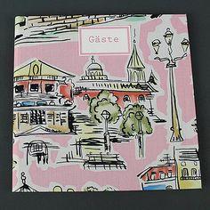 Rosa gemustertes Gästebuch Retro mit Parismotiven. Ein quadratisches, Stoff bezogenes Gästebuch zur Hochzeit. Im Stil der 50er Jahre. Personalisierbar.
